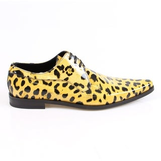 Dolce & Gabbana Yellow Leopard Leather Brogues Booties - 39