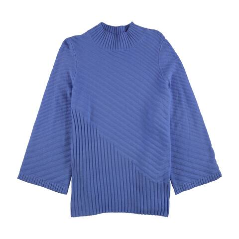 Charter Club Womens Ribbed Pullover Sweater, Blue, 3X