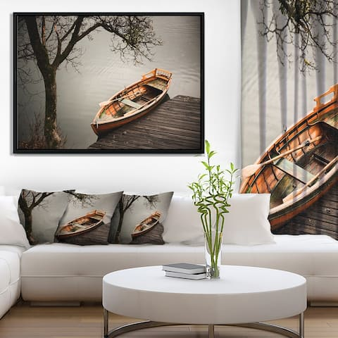 Designart 'Little Rowing Boat Ferry' Boat Framed Canvas Art Print