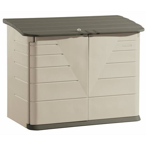 Rubbermaid FG374701 32 Cubic Feet Capacity Polyethylene Outdoor Storage Box - Olive / Sandstone