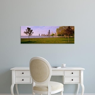 Easy Art Prints Panoramic Image 'Trees in a park with lake, Lincoln Park, Lake Michigan, Chicago, Illinois' Canvas Art