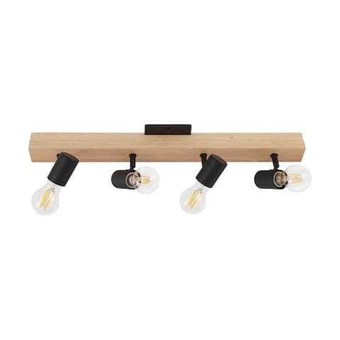 Eglo Kingswood 4-Light Black and Natural Track Light