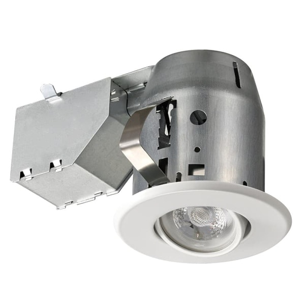 Globe Electric 90679 1 Light Recessed Lighting Kit Includes Trim, Housing / Can, Patented Clip System and Electrical Box - White