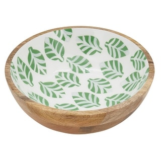 """Link to Wood Bowl With Leaves Enamel Design - 10""""x10"""" Similar Items in Serveware"""