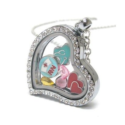 Nurse Locket with Floating Charms