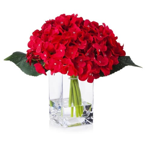 Enova Home Silk Hydrangea Arrangement in Clear Glass Vase With Faux Water For Home Office Decoration