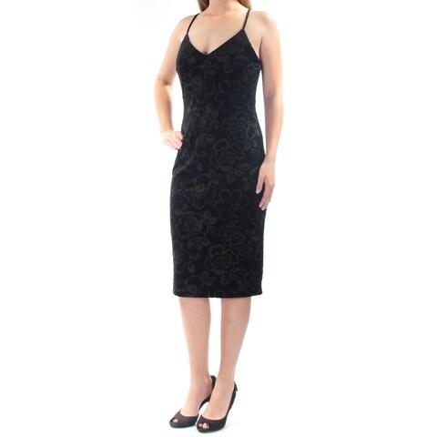 JESSICA SIMPSON Womens Black Velvet Spaghetti Strap V Neck Knee Length Body Con Cocktail Dress Size: 12