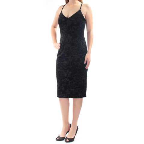 JESSICA SIMPSON Womens Black Velvet Spaghetti Strap V Neck Knee Length Body Con Cocktail Dress Size: 8