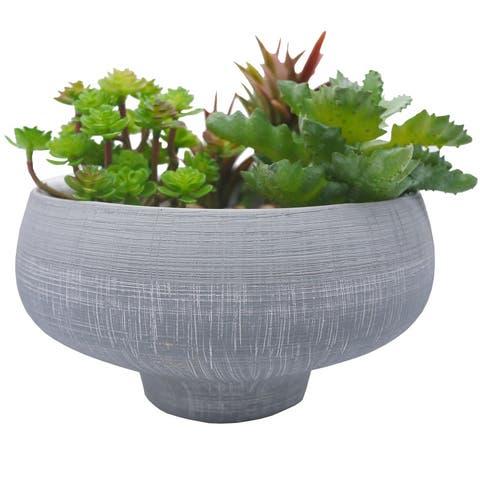 ABN5E147M-GY Grey blue two toned ceramic bowl Plant Pots, Planters