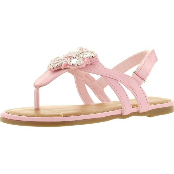 Sunny Day Sandra-24 Kid's Girl T-Strap Floral Gem Slingback Buckled Sandals
