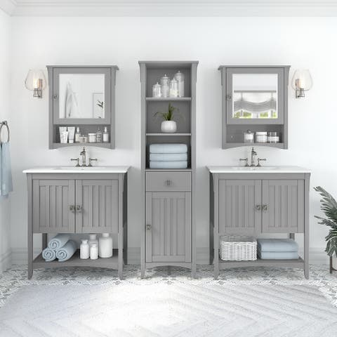 Salinas 64W Double Vanity Set with Sinks and Storage by Bush Furniture