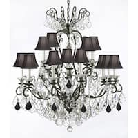 Wrought Iron & Crystal Chandelier Lighting With Black Shades