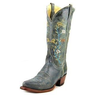 Ferrini V Toe Boot Women Square Toe Leather Green Western Boot