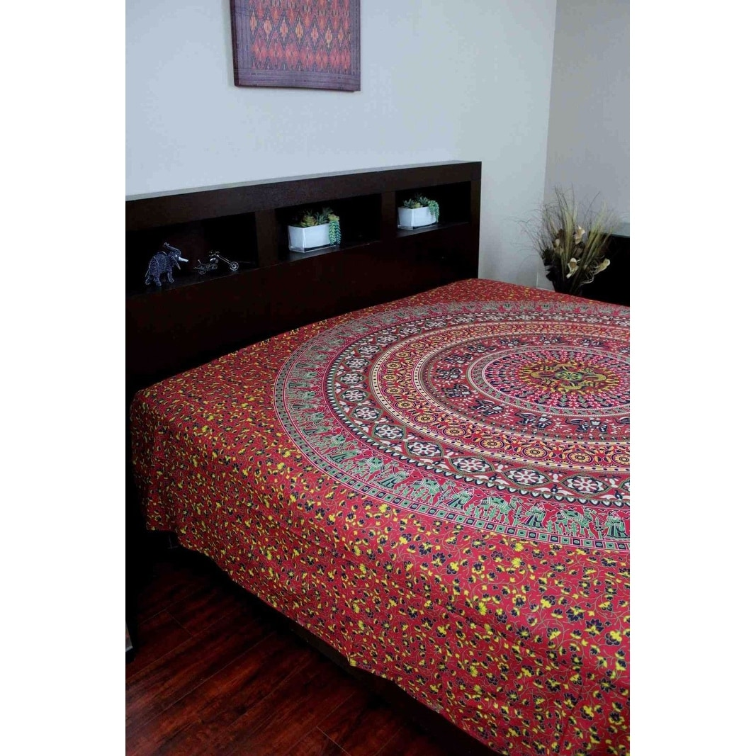 Handmade Sanganer Floral Mandala 100% Cotton Tapestry Tablecloth Bedspread Coverlet Beach Sheet Dorm Decor - Thumbnail 0