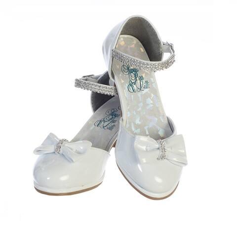 Girls White Patent Rhinestone Strap Bella Dress Shoes