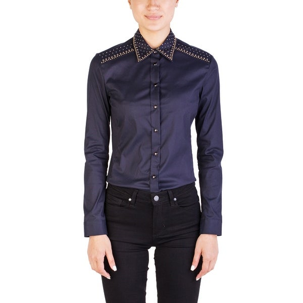 f7a2bc18012 Shop Prada Women s Cotton Nylon Blend Studded Blouse Navy - Free Shipping  Today - Overstock.com - 15894468