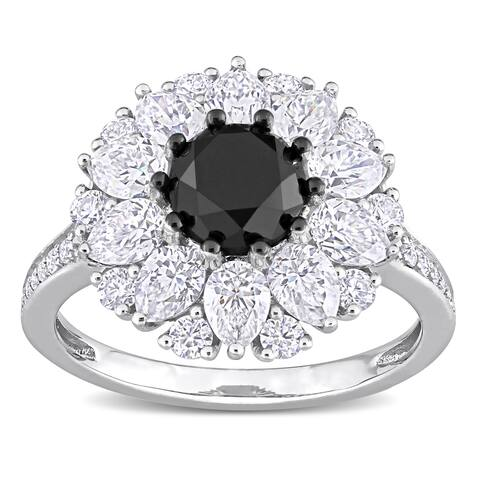 Miadora 10k White Gold 1 1/2ct TDW Black Diamond & Created White Moissanite Halo Engagement ring