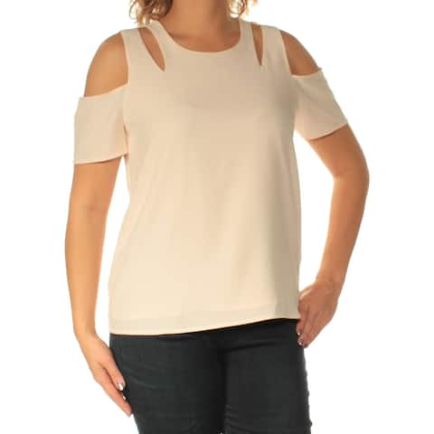 BAR III Womens Pink Cold Shoulder Cut Out Jewel Neck Top Size: M