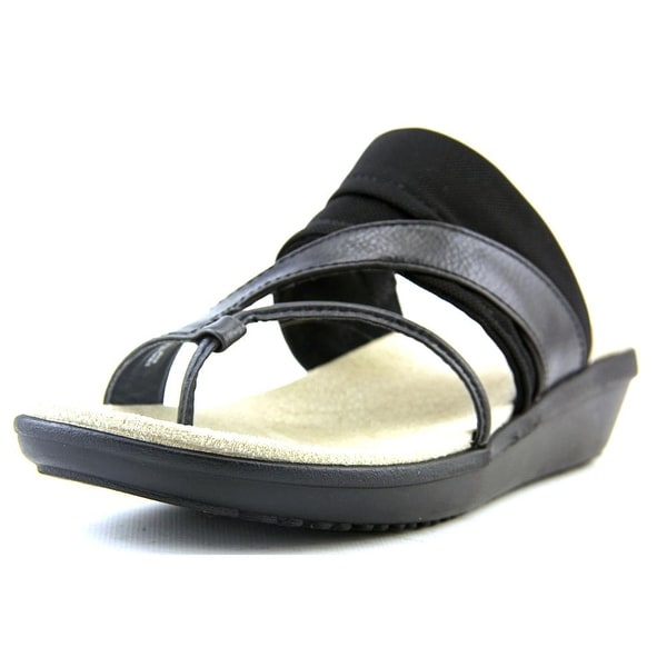 Kim Rogers Farly Women Open Toe Canvas Black Thong Sandal