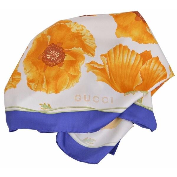 Gucci Women's 303940 Blue Yellow Poppy Floral Silk Twill Neck Scarf