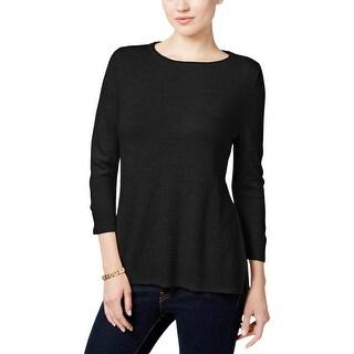 Karen Scott Womens Petites Pullover Sweater Solid Knit