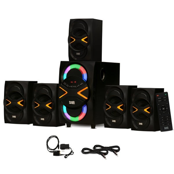 Acoustic Audio AA5210 Home 5.1 Speaker System Bluetooth Optical In 2 Ext. Cables