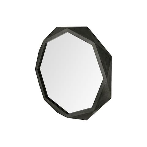 "Aramis I 32"" Octagon Black Wood Frame Wall Mirror"