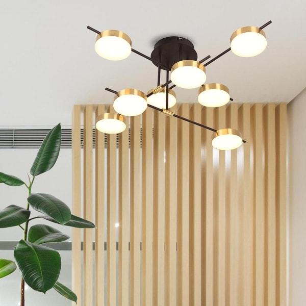 6 light LED Sputnik Chandelier Semi Flush Modern Brass LED Ceiling Light. Opens flyout.
