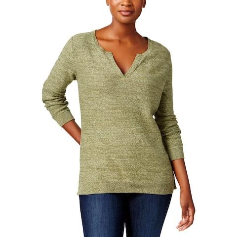 Karen Scott Womens Petites Pullover Sweater Ribbed Trim V-Neck - PS