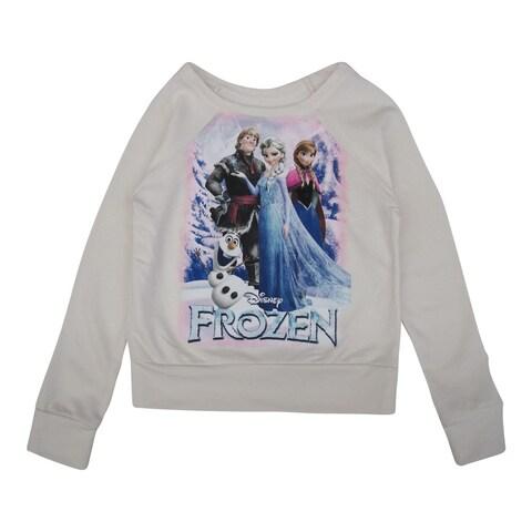 Disney Girls Bone White Frozen Character Print Long Sleeve Sweater 8-16