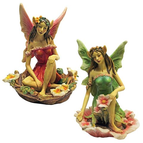 Design Toscano The Red and Green Fairy of Acorn Hollow Statues: Set of Two
