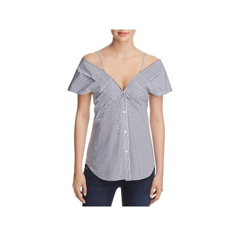 Theory Womens Hartman Button-Down Top Striped Cold Shoulder