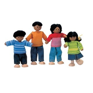 PlanToys Wooden Doll Family, African-American, Set of 4