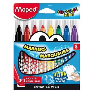 Maped Color'Peps Maxi Markers, Assorted Colors, Set of 8
