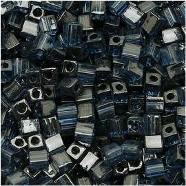 Miyuki 4mm Glass Cube Beads Transparent Montana Blue 2411 10 Grams