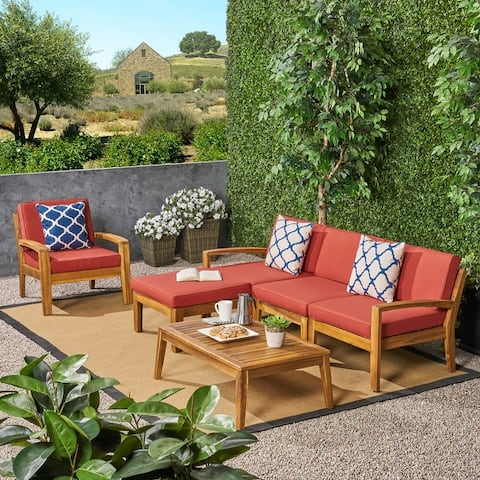 Grenada Outdoor 4-Seater Acacia Wood Sectional Sofa Set by Christopher Knight Home