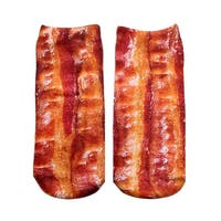 Bacon Photo Print Ankle Socks - Red