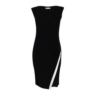 Calvin Klein Sleeveless Jersey Dress ( Black/ White, 4) - 4