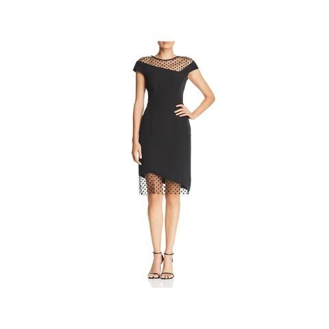 Milly Womens Lillian Cocktail Dress Mesh Trim Asymmetric - Black