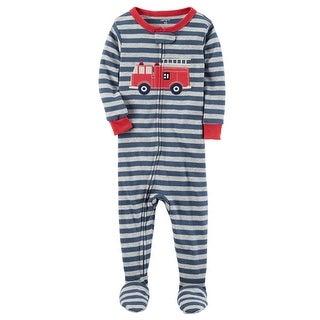 Carter's Baby Boys' 1-Piece Firetruck Snug Fit Cotton PJs, 12 Months - Blue/Red