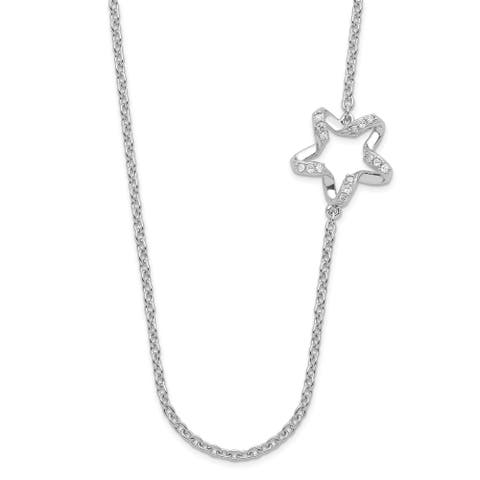 Sterling Silver Polished Diamond Twisted Star Necklace by Versil