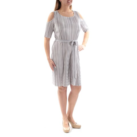CONNECTED Womens Silver Belted Striped Short Sleeve Scoop Neck Above The Knee Accordion Pleat Dress Size: 12
