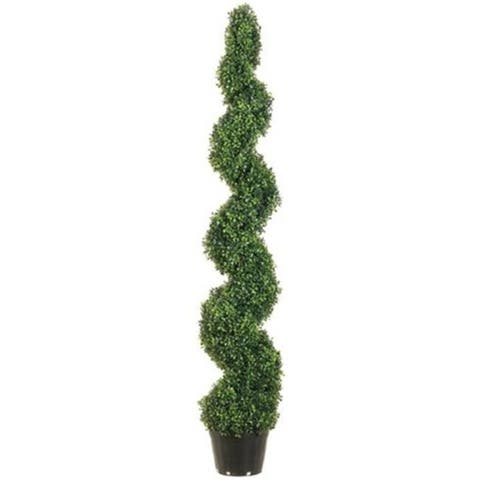 Allstate Floral LPB715-GR 5 ft. Knock-Down Pond Boxwood Spiral Topiary in Plastic Pot Green