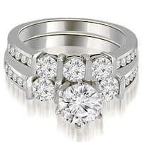 1.90 cttw. 14K White Gold Bar Set Round Cut Diamond Engagement Set - White H-I