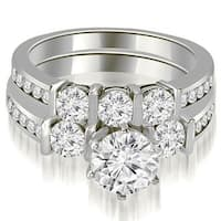 2.40 cttw. 14K White Gold Bar Set Round Cut Diamond Engagement Set