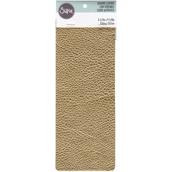 "Sizzix Metallic Cowhide Leather 3""X9""-Gold"