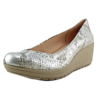Easy Spirit e360 Clarita Women Open Toe Leather Silver Wedge Heel