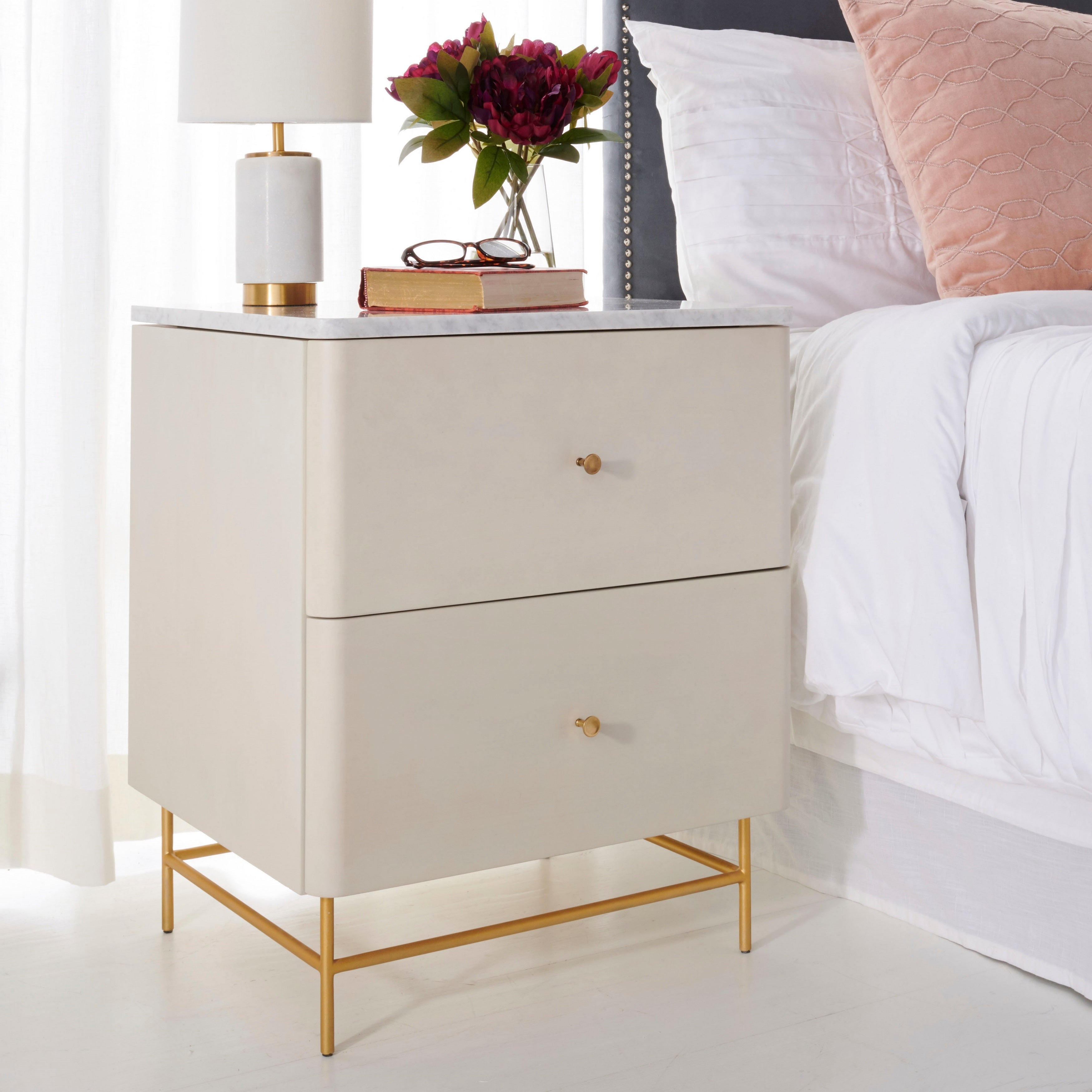Safavieh Couture Channing 2 Drawer Nightstand White Gold Overstock 26564776