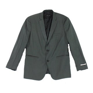 INC NEW Green Mens Size Medium M Faux-Leather Slim Two Button Blazer