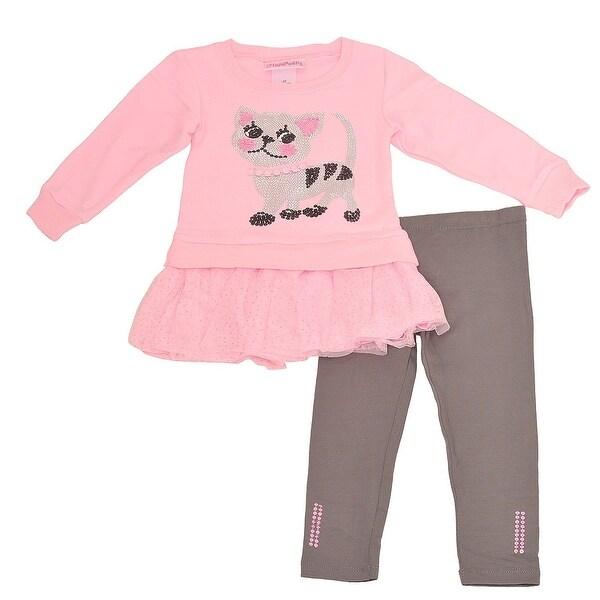 Shop Flapdoodles Little Girls Pink Sequin Cat Applique 2 Pc Pant